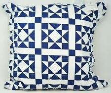 "Calvin Klein Abigail 18"" x 18"" Geometric Quilted Cotton Decorative Pillow - Navy"