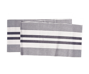 """White and Black Classic Stripes 72"""" Woven Table Runner by C&F"""
