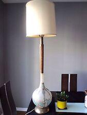 Midcentury Modern Retro Globe Tall Lamp Teak Hand Painted Glass Brass Base