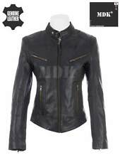 Women's Super Soft Ladies REAL Leather Stylish Fitted BIKER Jacket Black by MDK