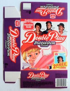 1986 Meadow Gold Double Play Ice Cream Unused Flat Box MINT Rose Brett Mattingly