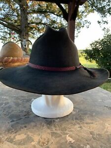Vintage Insane Rare Yellowstone Resistol 4X Beaver Hat 7 3/8 Gunmetal Black