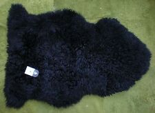 *RARE* 100% GENUINE CURLY Sheepskin Rug - NATURAL WAVY / CRIMPED WOOL - BLACK