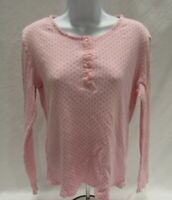 Women's Medium Pink Sonoma Intimates Long Sleeve Henley Top