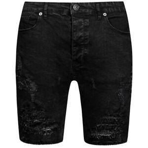 BRAVE SOUL Morton Denim Herren Ripped Jeans Shorts MSRT-MORTON Gr. S schwarz neu