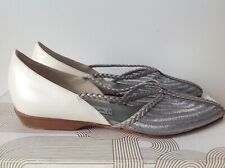 NEW VIA SPIGA MADE IN ITALY SILVER/WHITE ORIGINAL DESIGN FLATS SIZE 7,5 US B