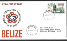 "BELIZE 1976 FDC CHARLES LINDBERGH "" SPIRIT OF ST. LOUIS "" AMERICAN BICENTENNIAL"