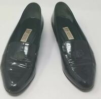 Vintage Gucci Patent Leather Slip Ons - Women's Hunter Green Size 38 US 7.5