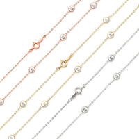 "Created Diamond By The Yard Station Necklace 925 Sterling Silver(16""-24"")"
