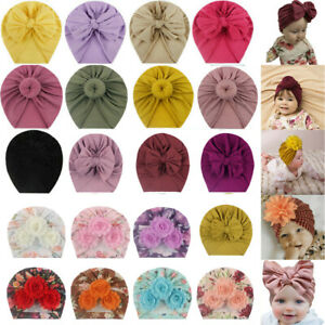 UK Infant Baby Girls Cotton Turban Hat Cap Beanie Knot Headband Head Wrap Soft