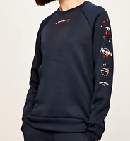 Tommy Sport Womens Sweatshirt Crew Neck Navy All over Graphic BNWT