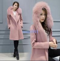 Women Faux Fur Collar Jacket Slim Fit Trench Parka Wool Blend Military Long Coat