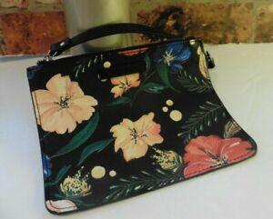 ZARA BLACK FLORAL POUCH CLUTCH BAG TOP ZIP NEW