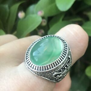 Men Turkish Green Resin Cab Dragon Repousse Silver Tone Oval Ring Size 11