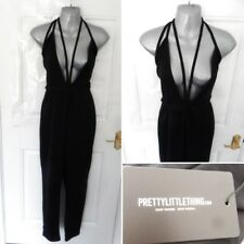 ❤ PRETTY LITTLE THING Size 14 Black Fenna Harness Crepe Jumpsuit Stretchy NEW!