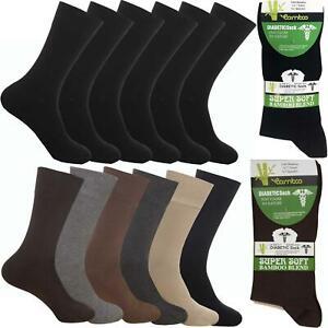 Mens Extra Wide Diabetic Bamboo Socks Super Soft Loose Top Sock 3, 6 & 12 Pairs