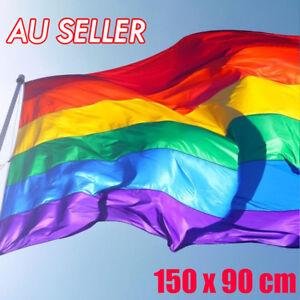 Rainbow Flag Gay Lesbian Pride LGBT Mardi Gras Party Banner Outdoor 150x90cm