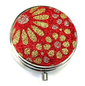 Gold Sparkle Daisies on a Red Sparkle Background Pill Box