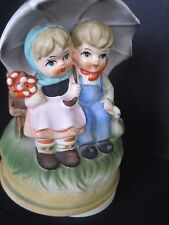 Vintage Hummel style Music Box Music Box Carousel Motion Boy and Girl