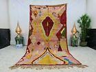 """Moroccan Vintage Boujaad Handmade Rug 4'9""""x9'3"""" Berber Geometric Pink Red Rug"""