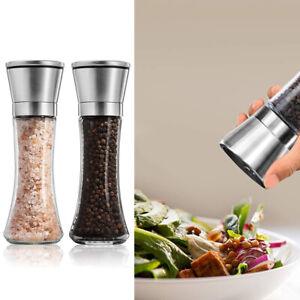 2x Salt and Pepper Grinder Stainless Steel Shaker Mill Set Adjustable Coarseness