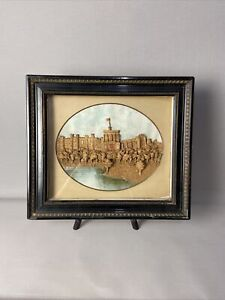Antique Victorian 3D Cork Picture of Windsor Castle from the River Thames 1895