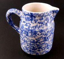 Roseville Ohio Blue White Speckled Pottery Creamer