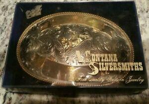 Vintage Large Montana Silversmiths Bronco Buster Western Nickel Belt Buckle NEW