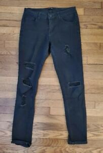 FRENCH KISS BLACK RIPPED JEANS Mid-Rise Skinny Denim Size 7