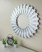 50cm Sunburst Wall Mounted Silver Mirror Large Home Decor Round Modern Vanity