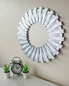 50cm Sunburst Wall Mounted Silver Mirror Large Home Decor Round Modern Vanity