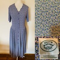 Laura Ashley Blue & Yellow Floral Midi Tea Dress Size 12 Vintage Made In GB