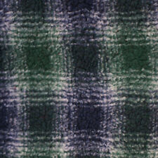 Blue Plaid Faux Fur Sherpa Fleece Fabric By The Yard