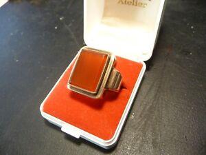 333 Gold Herrenring mit Karneol Stein 12,187 Gramm 63/20,0 mm Goldring