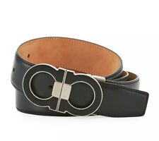 Authentic Salvatore Ferragamo Silver/Black Double Ganicni Belt Size 38/95 NWT