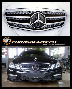 2009-2013 Mercedes W212 E Class BLACK/CHROME Grille Saloon or Estate ONLY