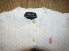 Polo Ralph Lauren~ White Cable Knit Cardigan Sweater~ Pink Logo~ Size 3 Euc