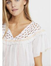 "NWT $98 Free People ""Allora Blouse"" in White Peach Combo size LARGE"