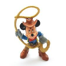 Figurine Walt Disney Mickey Bullyland Mickey Cow Boy With Lasso 2 5/8in