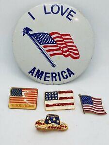 Lot of 5 Vintage American Flag Pins