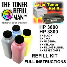 Toner Refill For Use In HP 3600, HP 3800 Printers  BK,C,M,Y Full Instructions