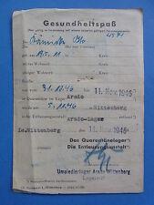 Flucht und Vertreibung 1946 Gesundheitspass Umsiedlerlager Arado Wittenberg