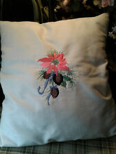 Embroidered Poinsettia Decorative Pillow