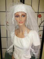 Vtg Beautiful Wht BRIDAL SATIN JULIET CAP Rose Flower Lace Ornament Wedding Veil