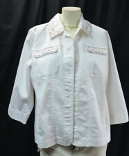 Koret City Blues white jean jacket multi Embroidered Top cotton mix coat L NEW