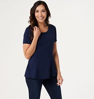 Isaac Mizrahi Live! Short-Sleeve Seamed Peplum Knit Top - Dark Navy - Medium