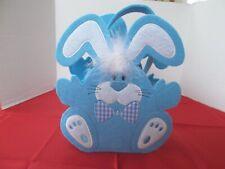 New! DanDee Collector's Choice Blue Felt Easter Bunny Basket