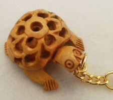 Carved Wood Turtle Keychain Lucky Keyring Key Ring Chain