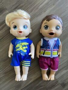 2 Used Blond/brunette Boy Baby Alive Dolls 2015/2017 Hasbro