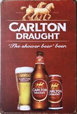 CARLTON DRAUGHT Garage Rustic Vintage Metal  Tin Signs Man Cave, Shed & Bar Sign